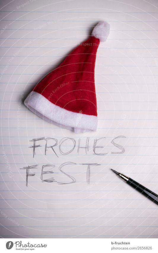 frohes Fest Feste & Feiern Weihnachten & Advent Büro Mütze Papier Zettel Schreibstift schreiben dunkel Verbitterung Glaube Religion & Glaube Identität