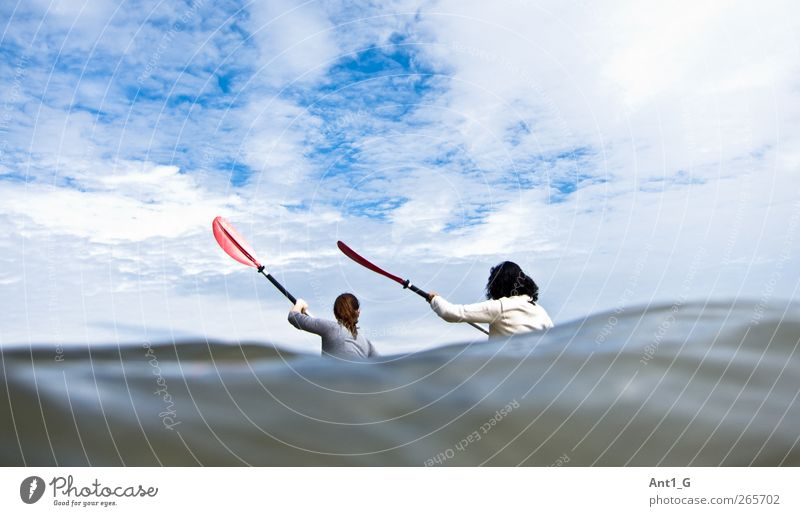 Ozean-Kajakfahren sportlich Wellness Freizeit & Hobby Ferien & Urlaub & Reisen Tourismus Abenteuer Freiheit Sommer Meer Wellen Wassersport Kanusport Mensch