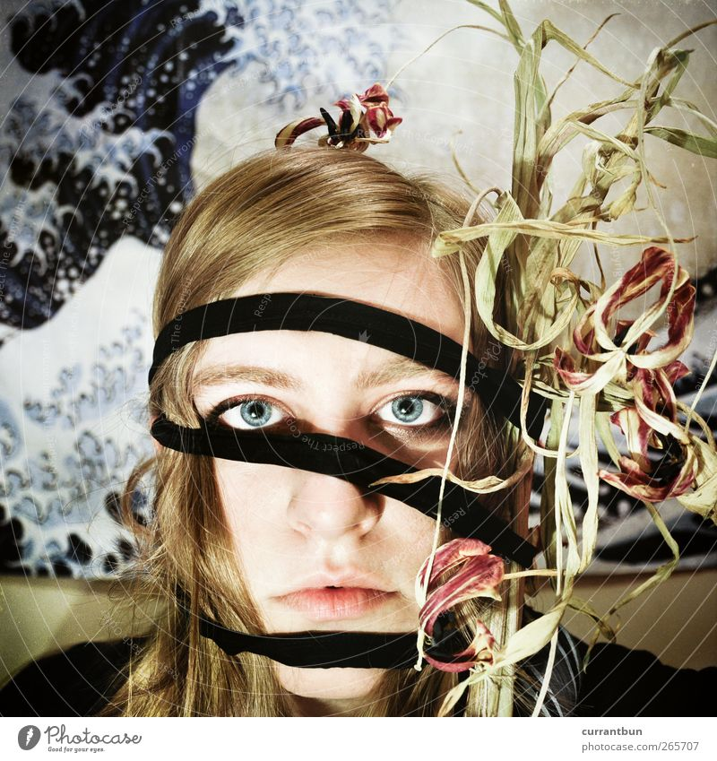 vergesst die blumen nicht Mensch blau grün Pflanze Blatt Gesicht Auge Blüte ästhetisch Schnur Gemälde Tulpe bizarr Grünpflanze Topfpflanze