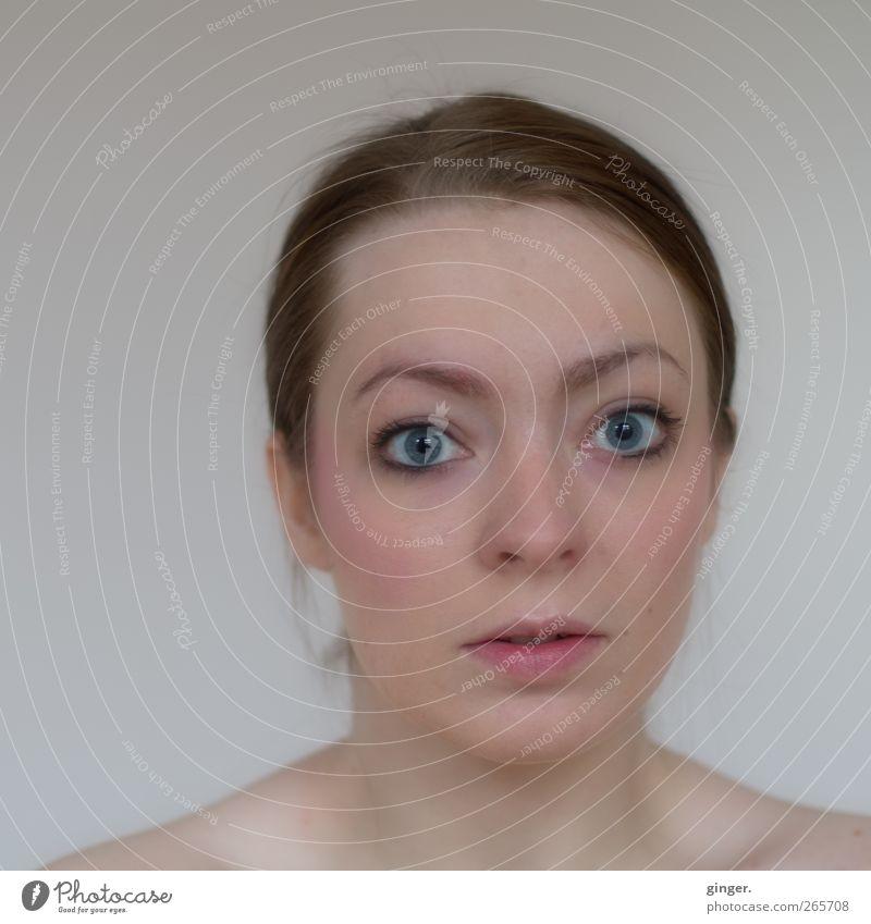 Unverstellte Vorstellung Mensch feminin Junge Frau Jugendliche Erwachsene Kopf Haare & Frisuren Gesicht Auge 1 Blick erstaunt direkt Ehrlichkeit schön Reinheit