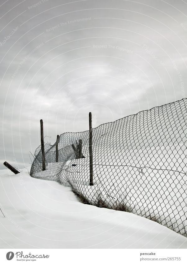 aprilapril Umwelt Schnee Denken Eis Feld Frost skurril schlechtes Wetter Maschendrahtzaun