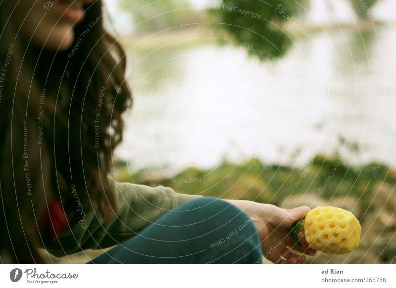 Anna's Ananas. Lebensmittel Picknick Bioprodukte Vegetarische Ernährung Mensch feminin Junge Frau Jugendliche Haare & Frisuren Mund Lippen Hand Beine 1