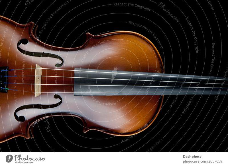 Violine Schwarz Hintergrund harmonisch Freizeit & Hobby Musik Handwerk Kunst Konzert Band Musiker Orchester Geige Holz braun schwarz herumfuchteln Zeichenketten