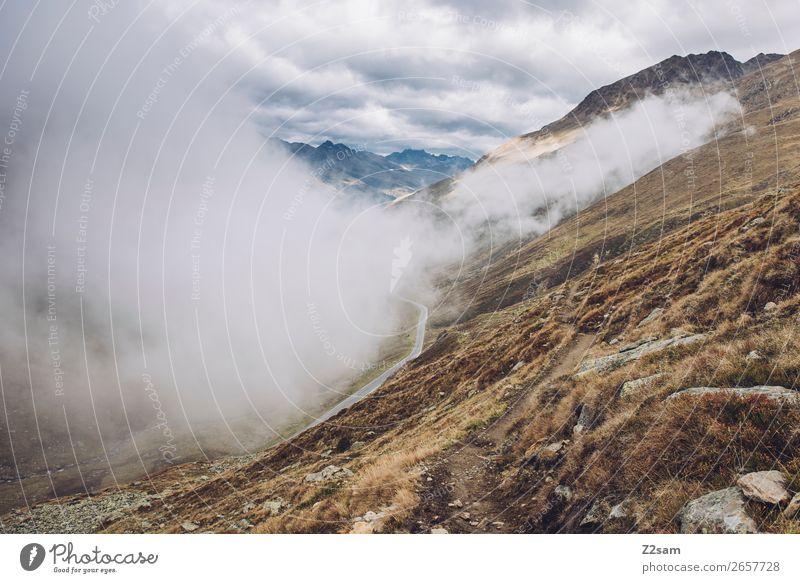 Timmelsjoch Passstraße | E5 Ferien & Urlaub & Reisen Natur Landschaft Himmel Wolken Herbst Klima Klimawandel Alpen Berge u. Gebirge Gipfel Straße gigantisch