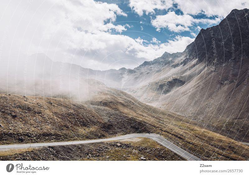 Timmelsjoch Passstraße | E5 Umwelt Natur Landschaft Himmel Wolken Herbst Schönes Wetter Alpen Berge u. Gebirge gigantisch hoch Abenteuer Einsamkeit Idylle