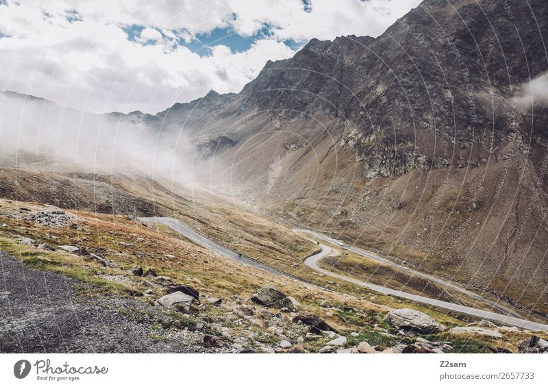 Timmelsjoch Passstraße Natur Landschaft Wolken Herbst Alpen Berge u. Gebirge Gipfel Straße Wege & Pfade Hochstraße gigantisch hoch nachhaltig natürlich ruhig