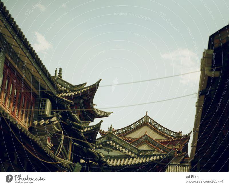 dächern Himmel alt Wolken Haus Fassade Dach historisch Skyline China Stadtzentrum Altstadt Dachrinne Dali Yunnan