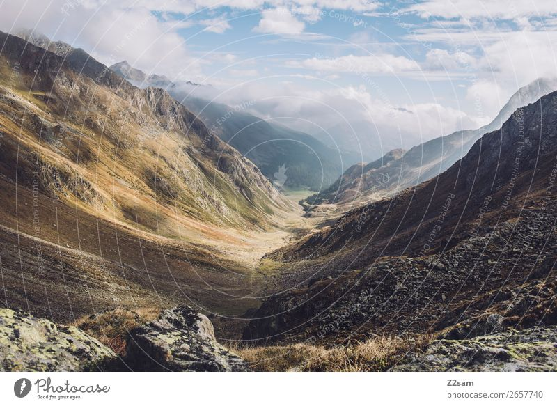 Timmelsjoch | Südtirol | E5 Abenteuer wandern Umwelt Natur Landschaft Himmel Wolken Herbst Schönes Wetter Nebel Alpen Berge u. Gebirge Gipfel Ferne