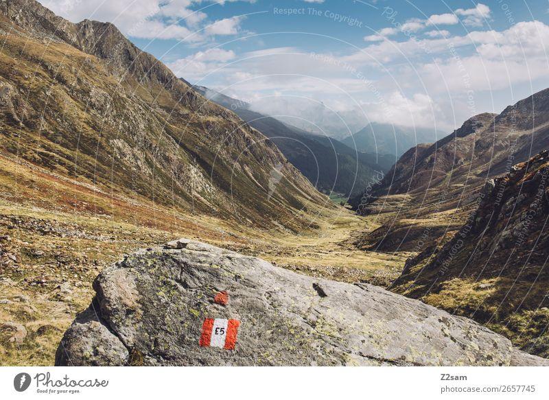 E5 Wanderweg | Timmelsjoch | Südtirol Abenteuer wandern Natur Landschaft Himmel Wolken Schönes Wetter Felsen Alpen Berge u. Gebirge gigantisch Unendlichkeit