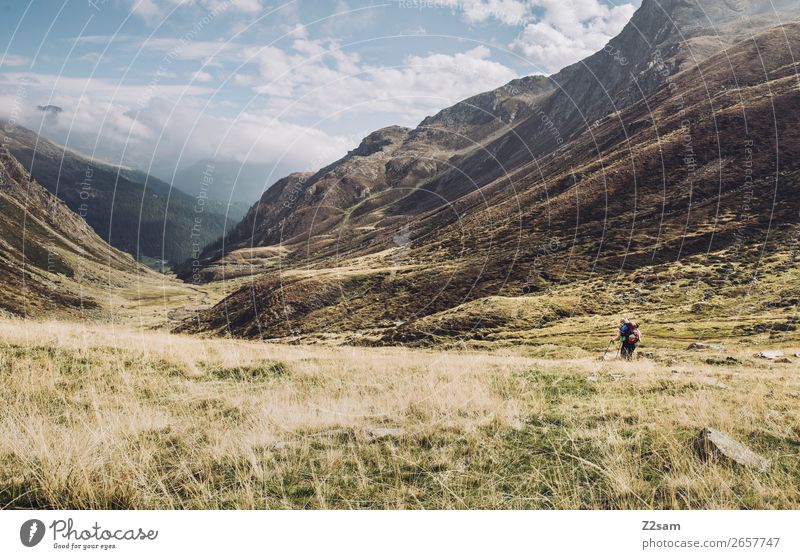 Wanderer auf Alpenüberquerung | Timmelsjoch | E5 Abenteuer wandern Natur Landschaft Himmel Wolken Herbst Schönes Wetter Wiese Berge u. Gebirge Gipfel Erholung