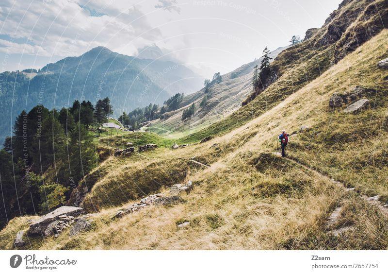 Junge Frau auf Alpenüberquerung | E5 Freizeit & Hobby Ferien & Urlaub & Reisen Abenteuer wandern Natur Landschaft Wolken Sonnenlicht Schönes Wetter