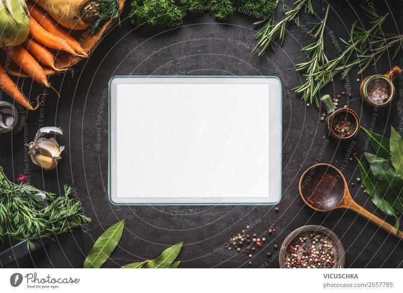 Tablet PC und gesunde Lebensmitteln Gesunde Ernährung Foodfotografie Essen Hintergrundbild Stil Design kaufen kochen & garen Kräuter & Gewürze Gemüse Internet