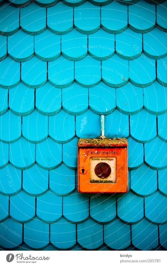 Alarmknopf Telefon Fassade Feuermelder leuchten alt außergewöhnlich Originalität positiv retro schön Stadt blau rot Sicherheit Schutz Farbe Hilfsbereitschaft