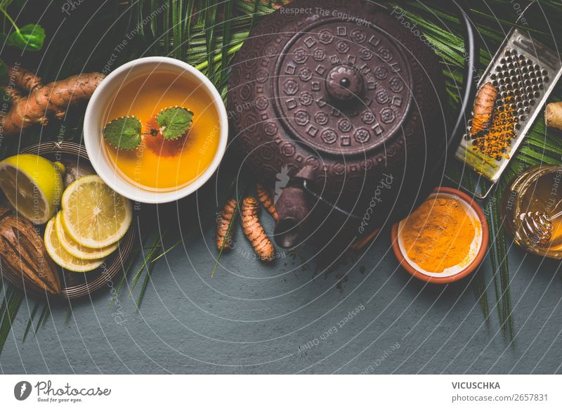 Gesunder Kurkuma Wurzel Tee Lebensmittel Frucht Kräuter & Gewürze Ernährung Bioprodukte Getränk Heißgetränk Geschirr Tasse Design Gesundheit Gesundheitswesen