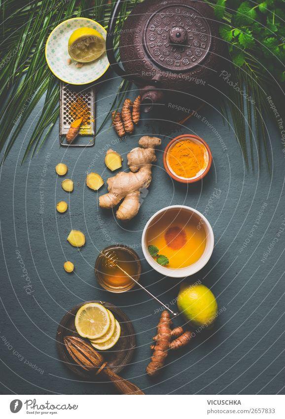 Zutaten für Kurkuma Tee Gesunde Ernährung Gesundheit Lebensmittel gelb Stil Design Kräuter & Gewürze Getränk Bioprodukte Vegetarische Ernährung Diät