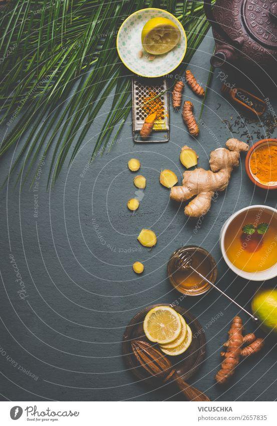 Gesunder Gelbwurz Kräuter Tee Lebensmittel Kräuter & Gewürze Bioprodukte Vegetarische Ernährung Diät Getränk Heißgetränk Geschirr Tasse Becher Stil Gesundheit