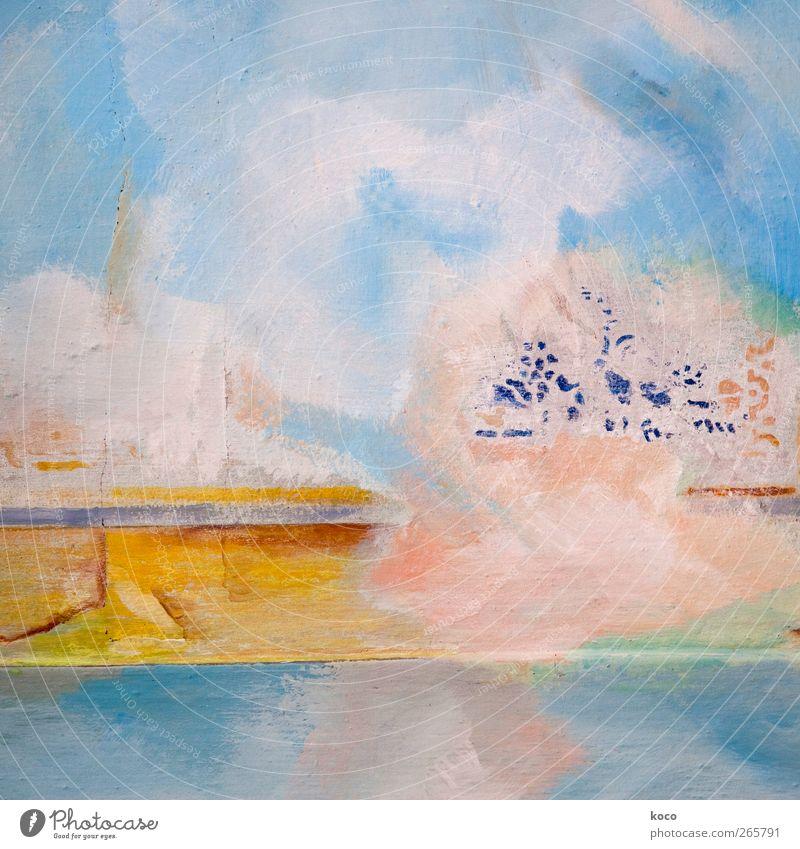 Ein Stück vom Himmel Wolken Mauer Wand Fassade träumen alt einfach schön blau braun mehrfarbig gelb gold grün rosa weiß ästhetisch Farbe Kunst Vergänglichkeit
