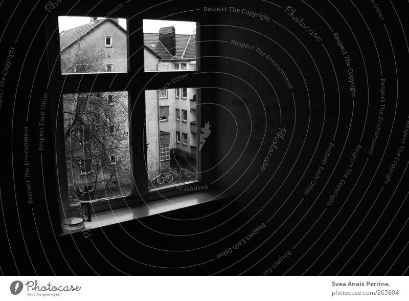 aussichten. Baum Haus dunkel Autofenster Häusliches Leben Vergänglichkeit Balkon Flur Heimweh Fensterrahmen