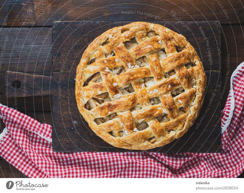 gebackene ganze runde Apfelkuchen Frucht Kuchen Dessert Süßwaren Mittagessen Tisch Küche Herbst Holz Essen frisch lecker oben braun rot Tradition Amerikaner