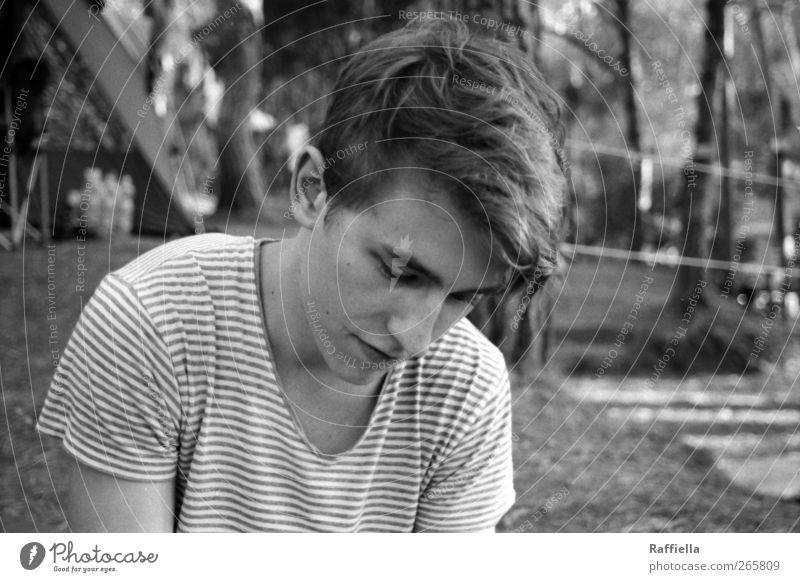 morgens Mensch Jugendliche Baum Erwachsene Haare & Frisuren Kopf Stimmung maskulin 18-30 Jahre nachdenklich T-Shirt Ohr Junger Mann Frieden Baumstamm brünett