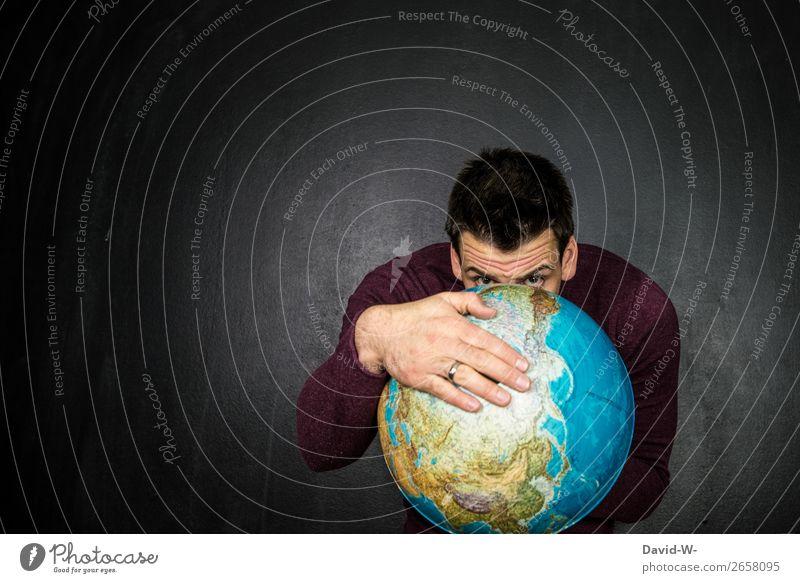 verstecken Mensch maskulin Junger Mann Jugendliche Erwachsene Leben Gesicht Auge Hand 1 Kunst Künstler Umwelt Natur Erde Klima Klimawandel beobachten Globus