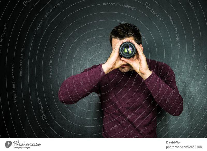 unter beobachtung Lifestyle Beruf Business Videokamera Fotokamera Technik & Technologie High-Tech Mensch maskulin Junger Mann Jugendliche Erwachsene Leben Auge