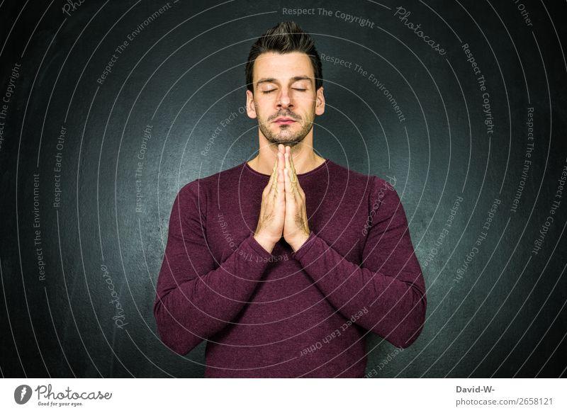 beten II Lifestyle Leben harmonisch Wohlgefühl Zufriedenheit Sinnesorgane Erholung ruhig Meditation Mensch maskulin Junger Mann Jugendliche Erwachsene Gesicht 1