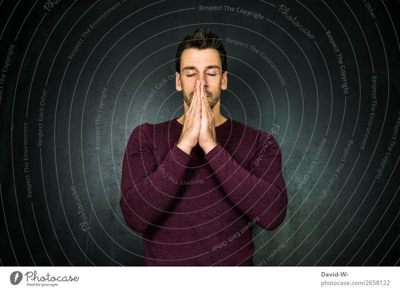 beten Lifestyle elegant Stil Gesundheit Leben Sinnesorgane Erholung ruhig Meditation Trauerfeier Beerdigung Business Mensch maskulin Junger Mann Jugendliche