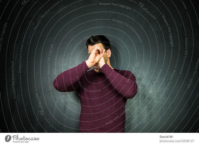 beobachten II Mensch Jugendliche Mann Junger Mann Hand Ferne Gesicht Lifestyle Erwachsene Leben Kunst Kopf maskulin Finger Neugier
