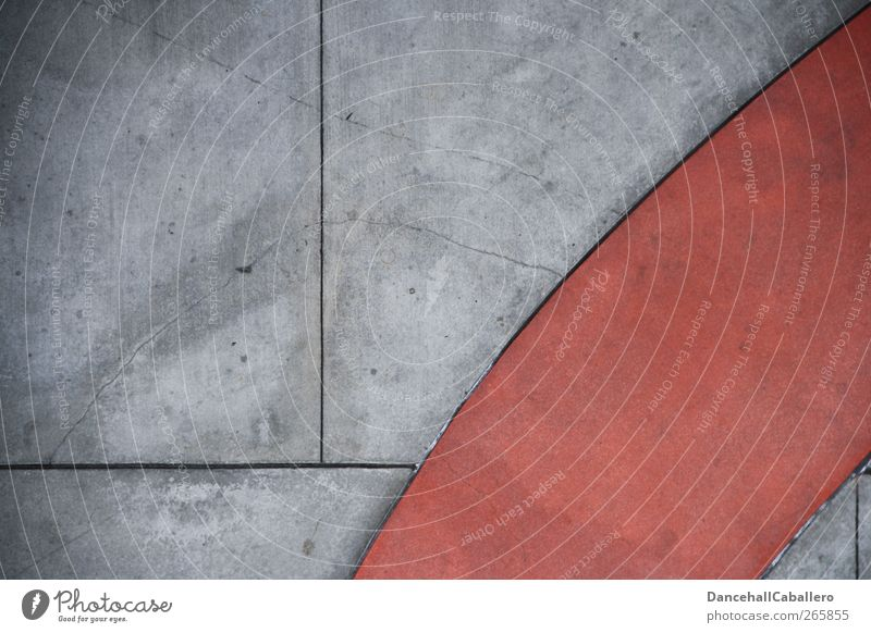 CA l rot in grau rot Wand Wege & Pfade grau Mauer Kunst Linie außergewöhnlich Beton Design modern Ecke einzigartig Dynamik Geometrie eckig
