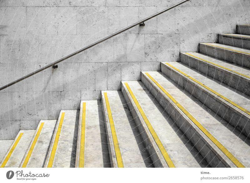 step by step by Schönes Wetter Lissabon Mauer Wand Treppe U-Bahn Treppengeländer Warnfarbe Fußgänger Wege & Pfade Stein Beton eckig hell Stadt gelb grau