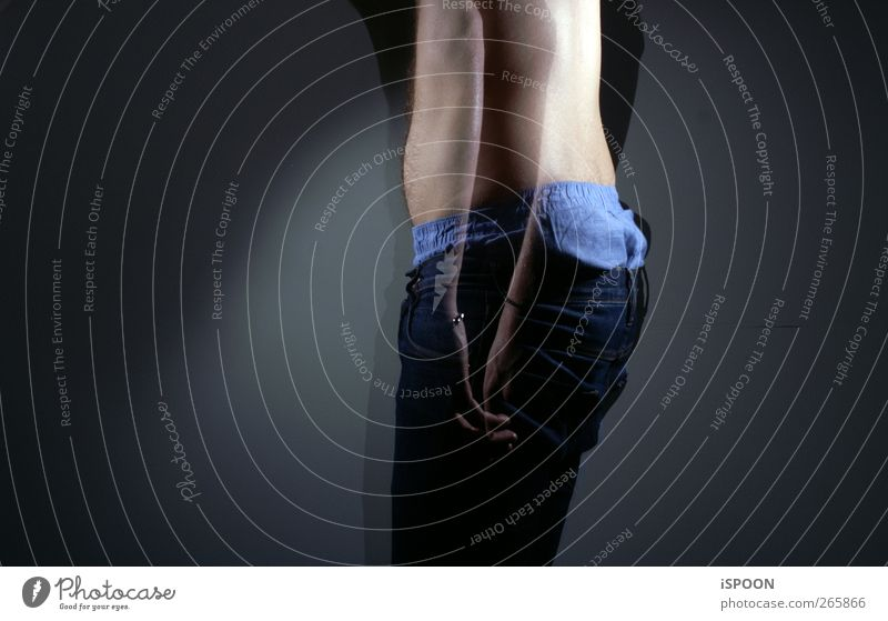 HIER UND DA Mensch maskulin Mann Erwachsene Körper Haut Rücken Arme Hand Finger Bauch Gesäß Beine 1 18-30 Jahre Jugendliche Kunst Fassade leuchten