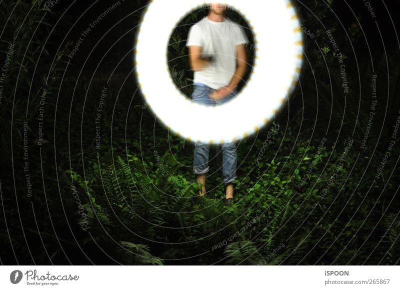 SÖRKLE Mensch maskulin Mann Erwachsene Körper Haut Kopf Gesicht Brust Arme Hand Beine Fuß 1 18-30 Jahre Jugendliche T-Shirt Jeanshose Bewegung leuchten machen