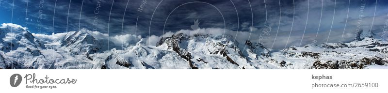 Gornergrat-Panorama Himmel Natur blau schön weiß Landschaft Wolken Winter Berge u. Gebirge kalt Felsen Kraft groß bedrohlich Gipfel Alpen