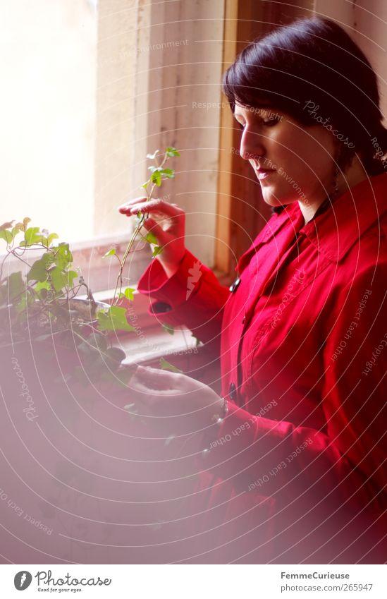 Lady in red IV. Mensch Frau Jugendliche Hand rot Pflanze Erwachsene feminin Junge Frau Kopf Denken träumen Autofenster 18-30 Jahre warten elegant