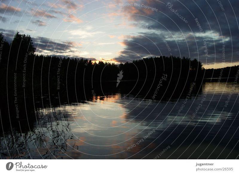 Sonnenuntergang Wasser Himmel Wolken See Beleuchtung Finnland