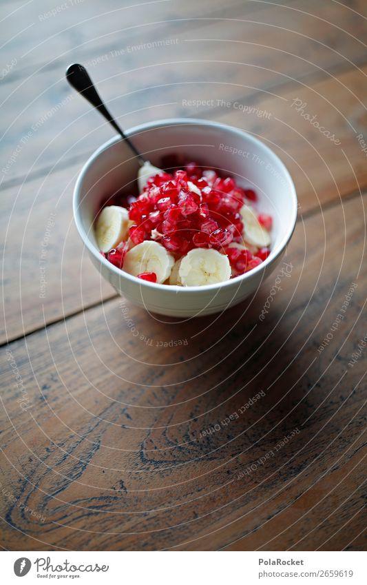 #AS# Hunger Lebensmittel ästhetisch lecker Essen Appetit & Hunger Frühstück Frühstückstisch Frühstückspause Granatapfel Löffel Schalen & Schüsseln Banane rot