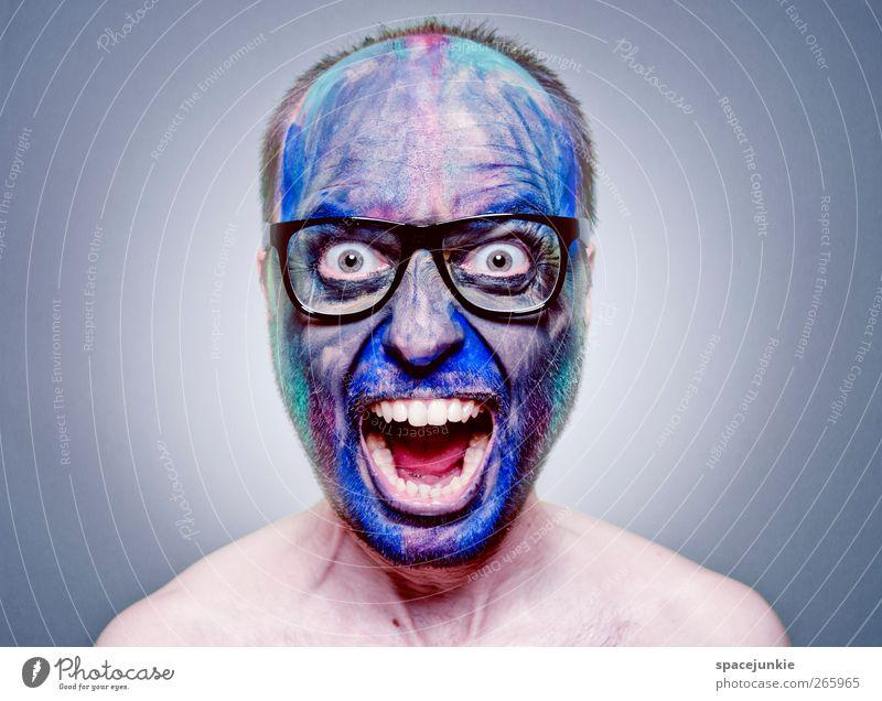 Drugs Mensch Mann Jugendliche blau Gesicht Erwachsene Kopf lustig Angst maskulin außergewöhnlich bedrohlich Brille Junger Mann Unendlichkeit gruselig
