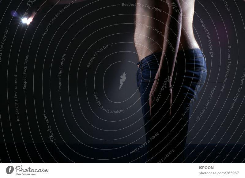 MEHRFACH Mensch maskulin Mann Erwachsene Arme Hand Bauch Gesäß Beine 1 18-30 Jahre Jugendliche atmen Jeanshose Tierhaut Licht Schatten Doppelbelichtung