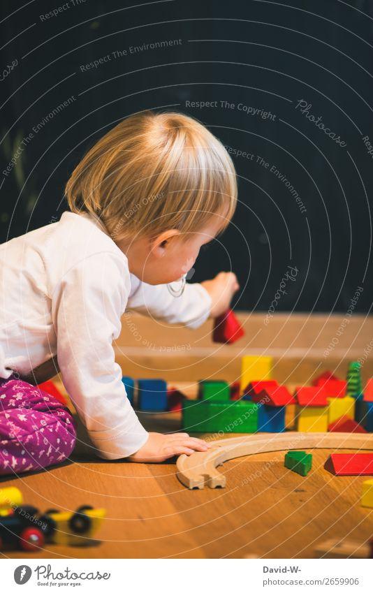 im Kinderzimmer III Zufriedenheit Sinnesorgane Erholung ruhig Spielen Mensch feminin Kleinkind Mädchen Kindheit Leben Hand Finger 1 1-3 Jahre Kunst beobachten