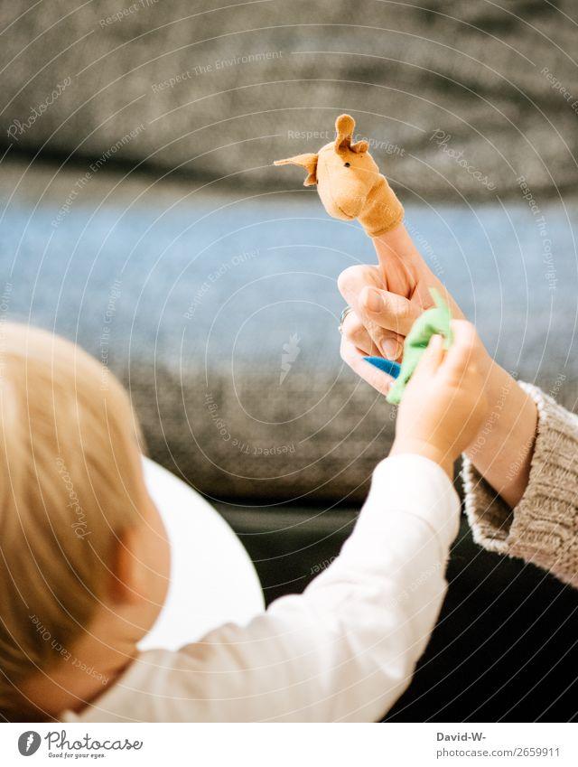 Fingerpuppen II Frau Kind Mensch Hand Freude Mädchen Lifestyle Erwachsene Leben feminin Spielen Kopf Zusammensein Häusliches Leben Wohnung Zufriedenheit