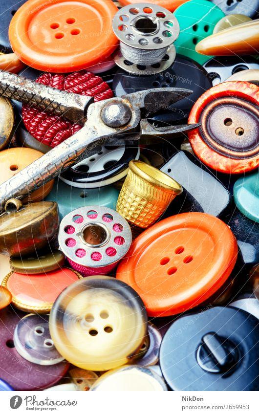 Hintergrund der Nähknöpfe Schaltfläche Nähen Mode nähen Bekleidung Schneider Design kreisen Faser Garnspulen Textur Sammlung Kunststoff farbenfroh Handarbeit