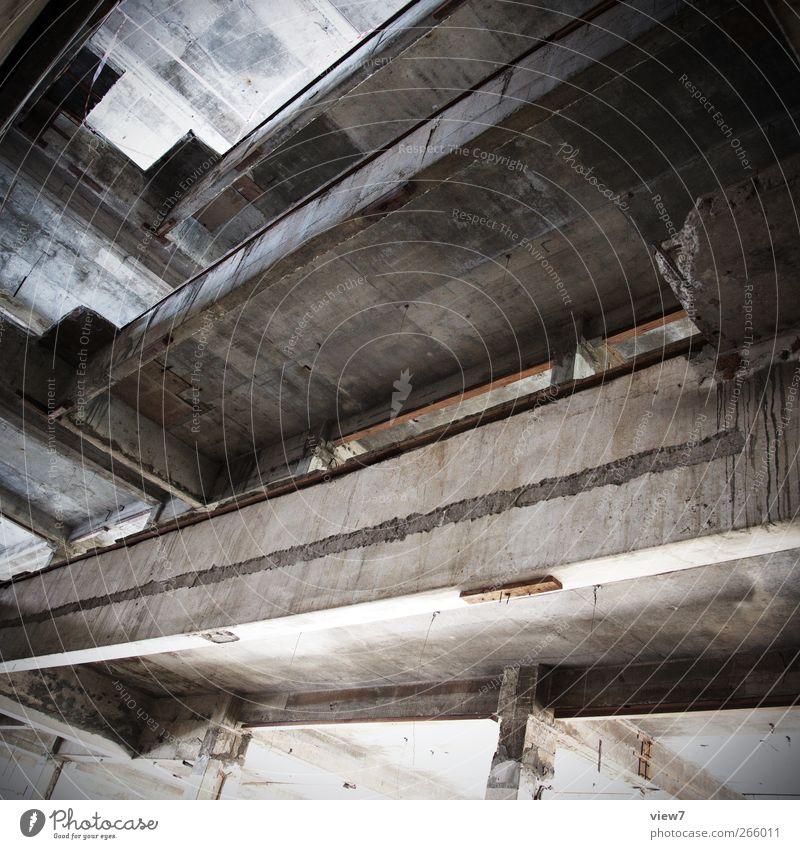 this is the end. alt Haus Wand Architektur grau Mauer Stein Gebäude Linie außergewöhnlich Fassade Beton authentisch Perspektive Streifen retro