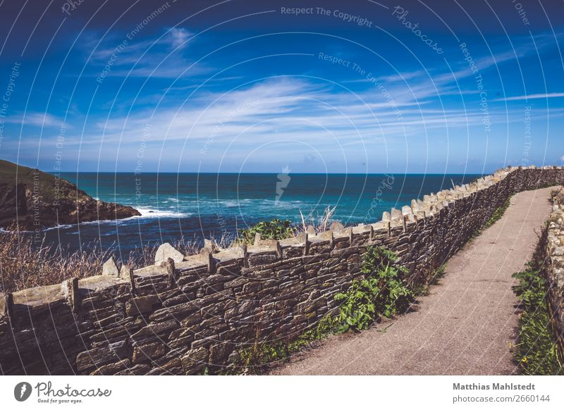 Blick aufs Meer bei Port Isaac in England Himmel Ferien & Urlaub & Reisen Natur Sommer blau Farbe Wasser Landschaft Wolken Wand Umwelt natürlich Wege & Pfade