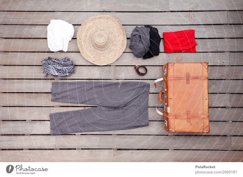 #AS# ich packe meinen Koffer Kunst ästhetisch Erholung Ferien & Urlaub & Reisen Tourismus Wunsch Reisefotografie reisend packen Hut Hose Gürtel Schal Bekleidung