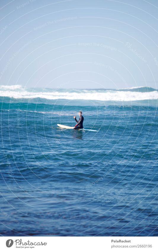 #AS# Sitting Blue Kunst ästhetisch Zufriedenheit Surfen Surfer Surfbrett Surfschule blau Blauer Himmel Meer Wellen Wellengang Mann maskulin Farbfoto mehrfarbig