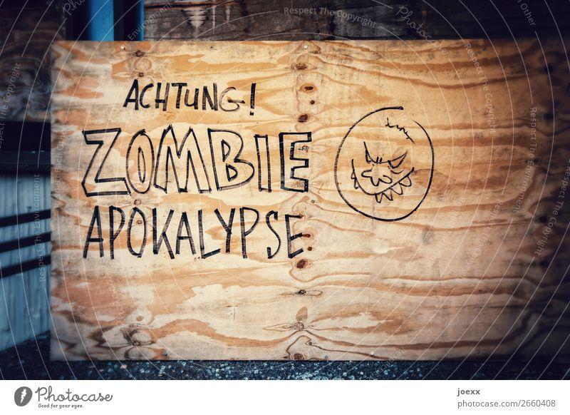 Graffity auf Holz: ACHTUNG! Zombie Apokalypse Zeichen Schriftzeichen Schilder & Markierungen Hinweisschild Warnschild Graffiti Aggression Warnhinweis Warnung