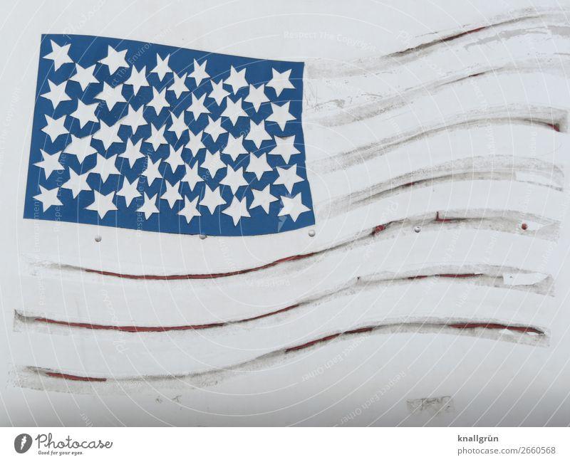 America blau weiß Erde grau Stimmung Angst Kommunizieren Wandel & Veränderung Zeichen Macht Zukunftsangst Fahne Verzweiflung Gewalt dumm Politik & Staat