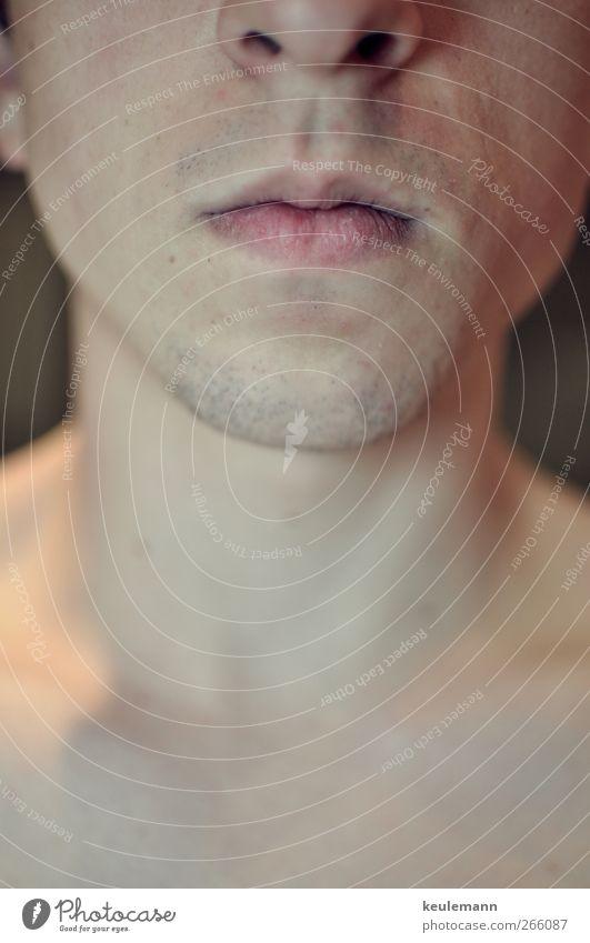 Original Mensch Jugendliche Gesicht Erwachsene Kopf Mund maskulin Nase 18-30 Jahre Junger Mann ernst Kinn schweigen Nackte Haut Männermund Männerkinn