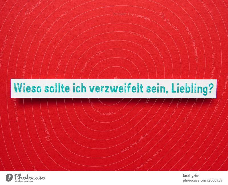 Wieso sollte ich verzweifelt sein, Liebling? grün weiß rot Liebe Traurigkeit Gefühle Zusammensein Stimmung Schriftzeichen Kommunizieren Schilder & Markierungen